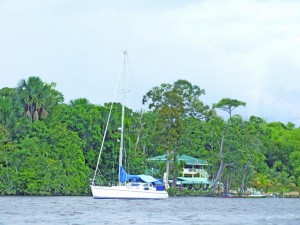 A yacht anchored at a resort on the Essequibo River