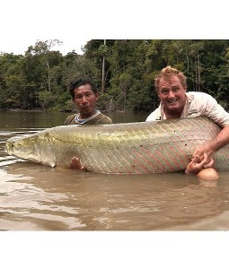 The monster fish caught by Townson (right)