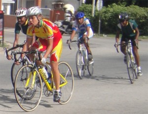 Singh (first left) during a race with top cyclists in Suriname (Photo by Rawle Toney)