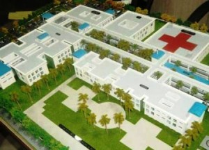 An artist's impression of the 250-bed Specialty Hospital to be constructed at Liliendaal, East Coast Demerara. The Opposition- APNU, AFC- have voted to slash the Gy$1.25 billion budgeted for the project