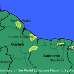 The aboriginal language Arawak is dying. It is still spoken/remembered/known by some 2,000 elders in a handful of pockets across Guyana, Surinam, French Guyana and Venezuela. (Map: LL-Map) http://sprogmuseet.dk/kreolsprog/berbice-dutch/