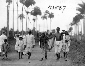 Labourers returning home after a day's work in the fields