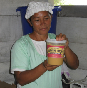 Displaying a jar of locally-made peanut butter