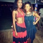 Travel journalist Jeanille Bonterre and St Lucia carnival queen wear First Resort designs