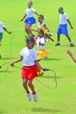 Guyanese citizens were urged to adapt a healthy lifestyle during World Challenge Day celebrations. In photo; pupils of School of the Nations wowed the crowd with a jump rope display