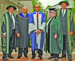 From left: President of Trent, Steven Franklin; Professor at Trent, Suresh Narine; former President Bharrat Jagdeo, Chair of the Trent Board, Anne Wright; Chancellor of Trent University, Tom Jackson