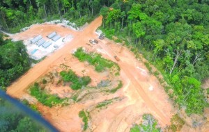 An aerial view of a camp set up to carry out work on one of the roads to the Amaila Falls project, Region Seven