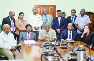 Prime Minister Samuel Hinds and other Government ministers brief the media following the approval of the amended Budget Estimates Wednesday night