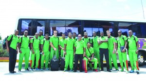 The Guyana Amazon Warriors prior to their departure for Grenada at the Grand Coastal hotel