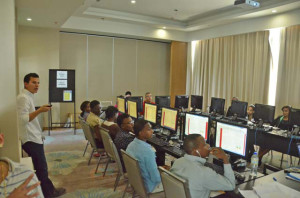 Staff in training to use service technology
