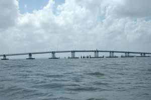 A view of the Berbice River Bridge from the river