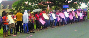 Part of the protest in Region Five