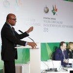 Former President Bharrat Jagdeo addressing the conference. Seated at the head table are Sergei Donskoi, Minister of Natural Resources and Environment of Russia  and Helena Molin Valdes, Head of the Secretariat of the Climate and Clean Air Coalition