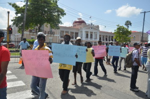 Sugar workers protest in front Parliament on Thursday
