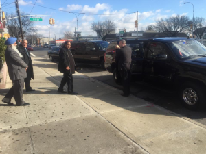 PM Moses Nagamootoo was escorted by several black Secret Service vehicles during his New York trip over the weekend