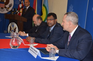 Public Security Minister Khemraj Ramjattan(centre), US Ambassador Perry Holloway and DEA Regional Director Matthew Donahue at the launching of the local DEA office at the US Embassy in Georgetown, Guyana