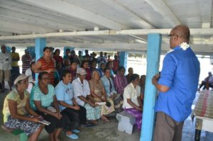 Opposition Leader Bharrat Jagdeo meeting with residents in flood-affected areas in Region Five
