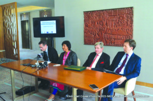 From left to right: UN Assistant Secretary General of the Office of the High Commissioner for Human Rights Ivan Simonovic; Judge Navi Pillay, former United Nations High Commissioner for Human Rights; Member of the UN Committee on the Elimination of Racial Discrimination Marc Bossuyt and EU Chargé D'Affaires Derek Lambe