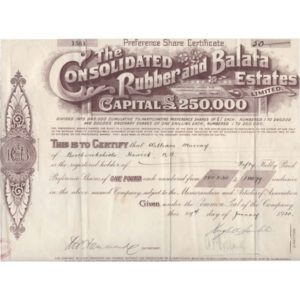 A Certificate for 50 shares of 1£ (London 1920) for the Consolidated Rubber and Balata Estates Ltd.