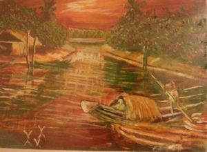 "Claude Stevens. ""Essequibo River."" Acrylic on Canvas. 24 x 18 in."