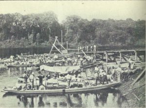 Balata bleeders leaving Sprostons' stelling at Rockstone, British Guiana (No date)