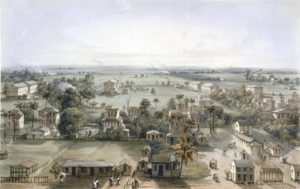 Lithograph of Georgetown Demerara British Guiana by William Parrot after a drawing by E. A. Goodall