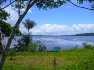 Looking up Mazaruni River, towards Essequibo River from Kykoveral Island