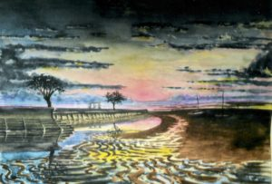 Buxton foreshore at sunset  by Gui Sharples c. 1951 © C W McWatt