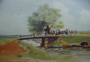 Morning at the bridge, scene on East Coast , Demerara.  Watercolour by R.G. Sharples