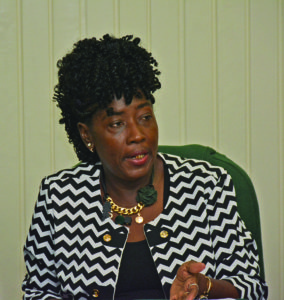 Junior Communities Minister Valarie Adams-Patterson during a press briefing on Tuesday