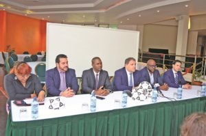 The members of the head table at the press conference at the Guyana Pegasus on Tuesday. From left; President of Aruba Football Federation Richard Dijkhoff, Guyana Football Federation PresidentWayne Forde, CONCACAF President Victor Montagiani, St Marteen Football Federation President Fabrice Baly and Member Associations and Legal Affairs of CONCACAF Director Marco Leal