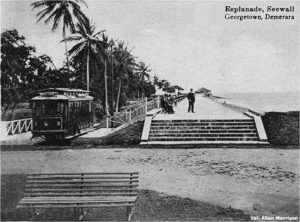 A tramcar at the seawall, perhaps the area Aspinall called the 'Platform' in his guide
