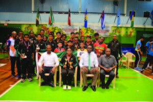 Team Guyana!  Seated (L-R) President of the Guyana Table Tennis Association Godfrey Munrore, Priscilla Greaves, Director of Sport Christopher Jones and Guyana Olympic Association  Charles Corbin