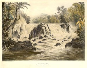 """'Purumama / The Great Cataract of the River Parima'.  A magnificent view from Schomburgk's """"Twelve Views in the Interior of Guiana"""" from a series of views of Guiana by Charles Bentley, executed as illustrations for Robert Schomburgk's work in the region."""